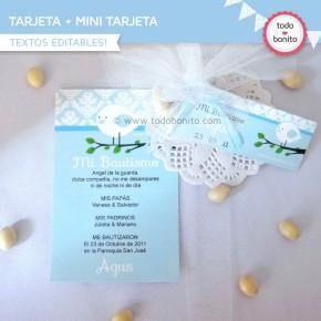 Pajarito celeste:  tarjeta + mini tarjeta