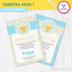 Cáliz amarillo y celeste: tarjeta / estampita MOD 1