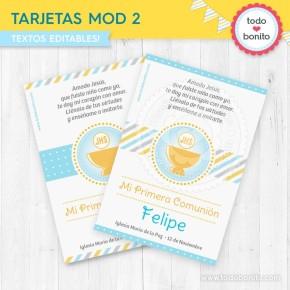 Cáliz amarillo y celeste: tarjeta / estampita MOD 2