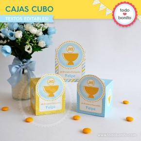 Cáliz amarillo y celeste: cajitas cubo