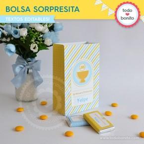 Cáliz amarillo y celeste: bolsa sorpresita para imprimir