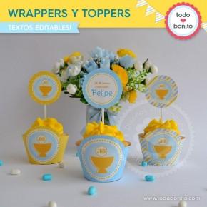 Cáliz amarillo y celeste:  wrappers y toppers