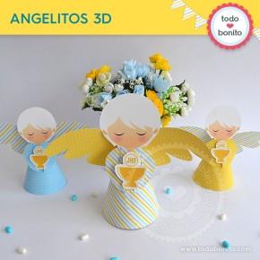 Cáliz amarillo y celeste: angelitos 3D