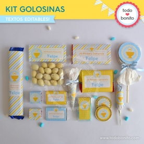 Cáliz amarillo y celeste: kit etiquetas de golosinas