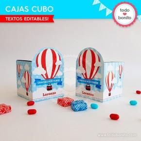 Globos aerostáticos varones: cajitas cubo