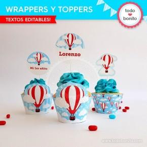 Globos aerostáticos varones:  wrappers y toppers