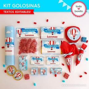 Globos aerostáticos varones: kit etiquetas de golosinas