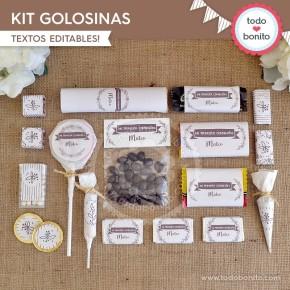 Rústico: kit etiquetas de golosinas
