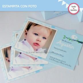 Pajarito celeste: tarjeta con foto