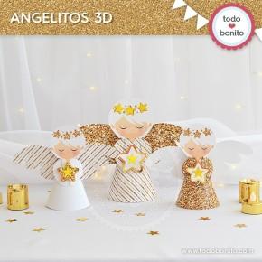 Navidad glitter dorado: angelitos 3D