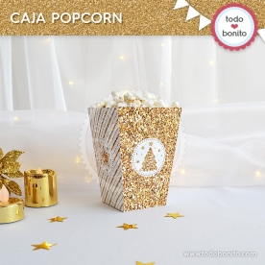 Navidad glitter dorado: cajita popcorn
