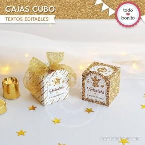 Navidad glitter dorado: cajitas cubo