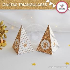 Navidad glitter dorado: cajitas triangulares
