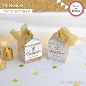 Navidad glitter dorado: milkbox