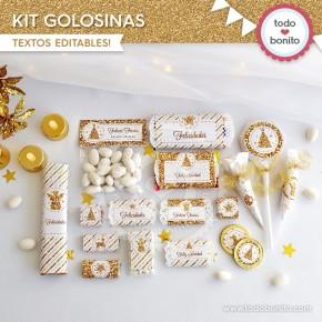 Navidad glitter dorado: kit etiquetas de golosinas
