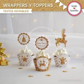 Navidad glitter dorado: wrappers y toppers