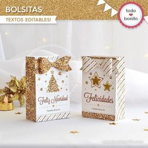 Navidad glitter dorado: bolsa sorpresita para imprimir