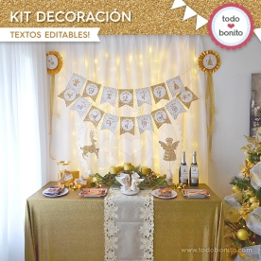Navidad glitter dorado: kit decoración