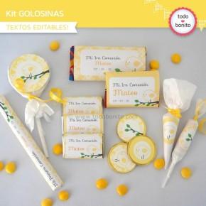 Pajarito amarillo: kit etiquetas de golosinas