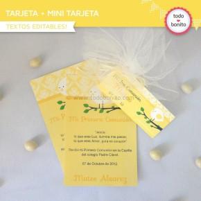 Pajarito amarillo:  tarjeta + mini tarjeta