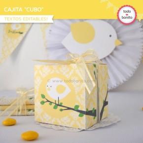 Pajarito amarillo: cajita cubo