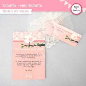 Pajarito rosa:  tarjeta + mini tarjeta