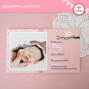 Pajarito rosa: tarjeta con foto