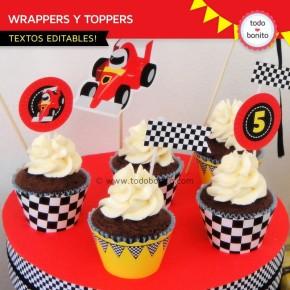 Autos de Carrera: wrappers y toppers para cupcakes