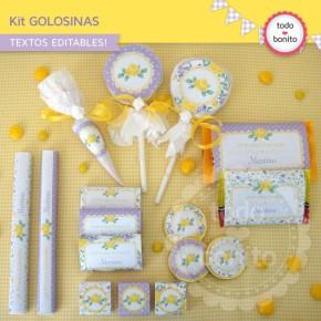 Shabby Chic violeta y amarillo: kit etiquetas de golosinas
