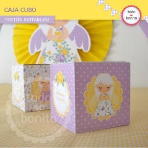 Shabby Chic violeta y amarillo: cajita cubo