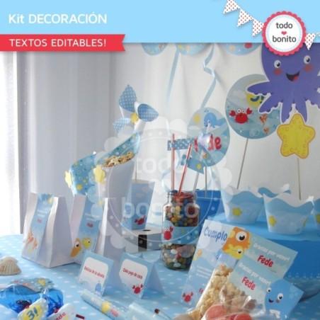 Animalitos de Mar: decoración de fiesta para imprimir
