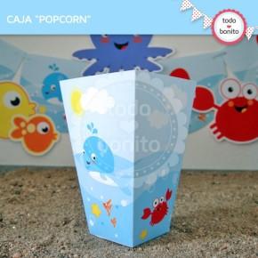 Animalitos de Mar: Caja popcorn para imprimir