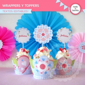 Flores y mariposas:  wrappers y toppers para cupcakes