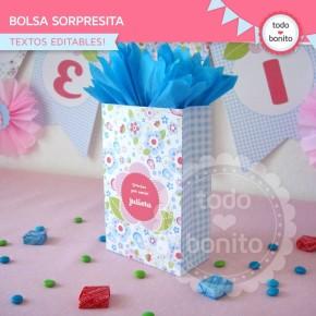 Flores y mariposas:  bolsa sorpresita para imprimir