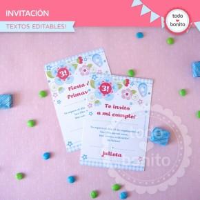 Flores y mariposas:  invitación para imprimir