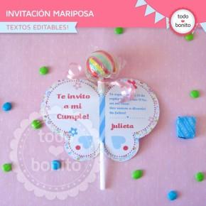Flores y mariposas:  invitación para imprimir mariposa