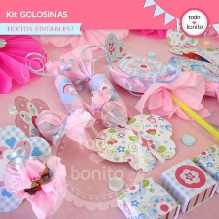 Flores y mariposas:  kit etiquetas de golosinas