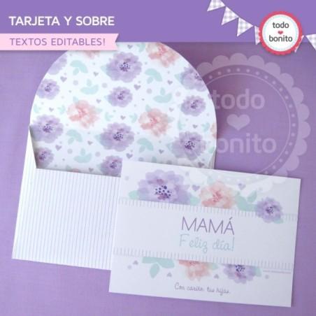 Día de la madre: tarjeta y sobre