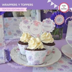 Día de la madre: wrappers y toppers para cupcakes