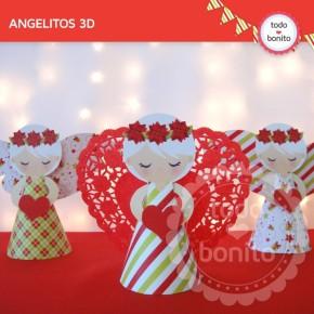 Navidad verde y rojo: angelitos 3D