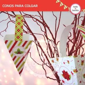 Navidad verde y rojo: caja triangular para colgar