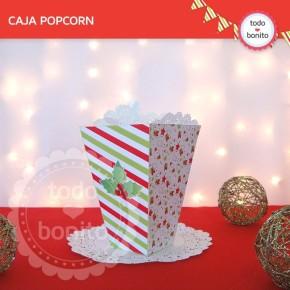Navidad verde y rojo: caja popcorn