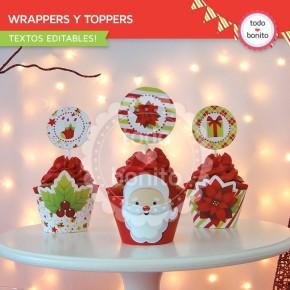 Navidad verde y rojo: wrappers y toppers