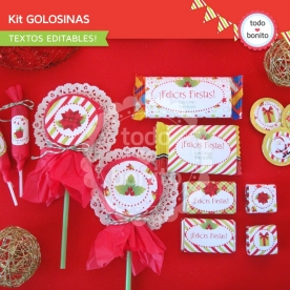 Navidad verde y rojo: kit etiquetas de golosinas