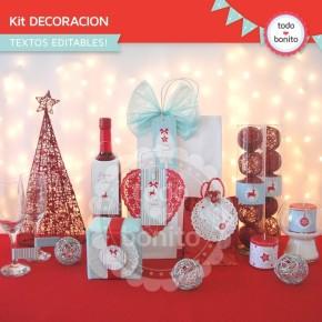 Navidad aqua y rojo: kit decoración imprimible