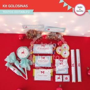 Navidad aqua y rojo: kit etiquetas de golosinas
