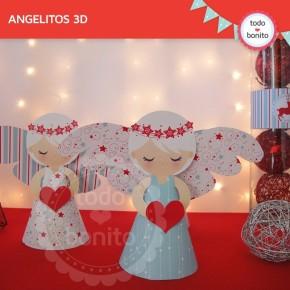 Navidad aqua y rojo: angelitos 3D