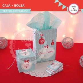 Navidad aqua y rojo: bolsa y cajita