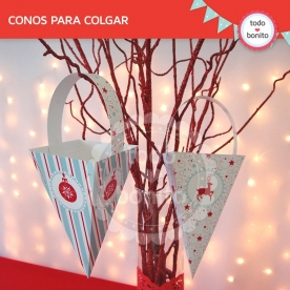 Navidad aqua y rojo: caja triangular para colgar